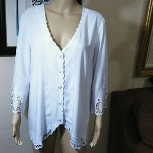 Soft Surroundings white lace blouse